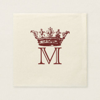 Vintage Crown Monogram Disposable Napkin