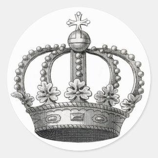 Vintage Crown Round Sticker