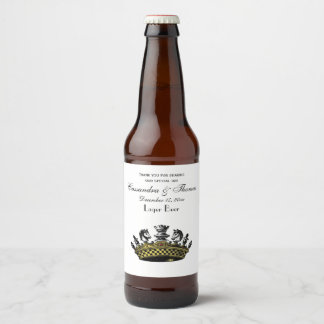 Vintage Crown With Chess Pieces Color Beer Bottle Label