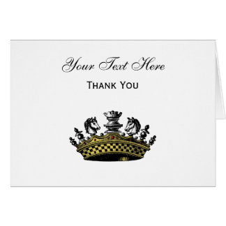 Vintage Crown With Chess Pieces Color Card