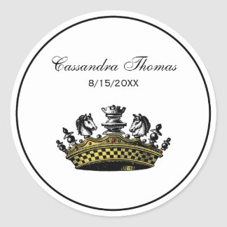 Vintage Crown With Chess Pieces Color Classic Round Sticker