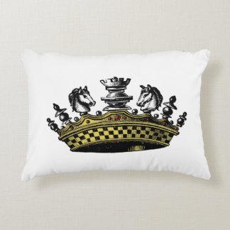 Vintage Crown With Chess Pieces Color Decorative Pillow