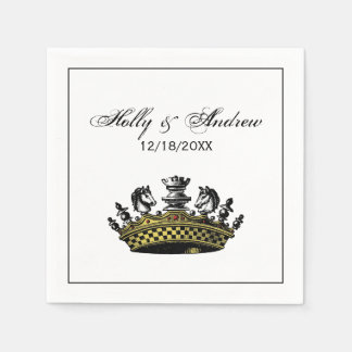 Vintage Crown With Chess Pieces Color Disposable Napkins