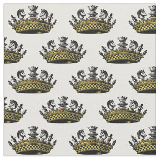 Vintage Crown With Chess Pieces Color Fabric