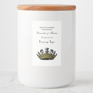 Vintage Crown With Chess Pieces Color Food Label