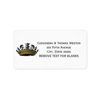 Vintage Crown With Chess Pieces Color Label