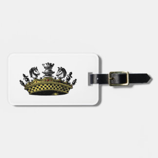 Vintage Crown With Chess Pieces Color Luggage Tag