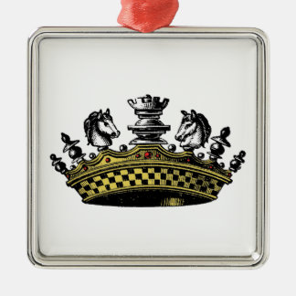 Vintage Crown With Chess Pieces Color Metal Ornament