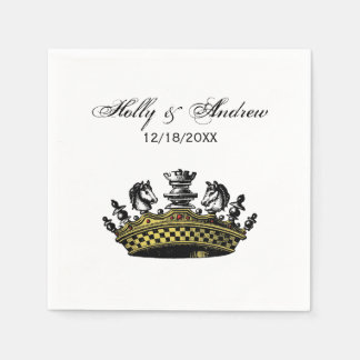 Vintage Crown With Chess Pieces Color Paper Napkins