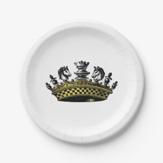 Vintage Crown With Chess Pieces Color Paper Plate