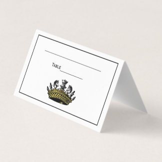 Vintage Crown With Chess Pieces Color Place Card
