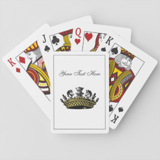 Vintage Crown With Chess Pieces Color Playing Cards