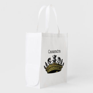 Vintage Crown With Chess Pieces Color Reusable Grocery Bag