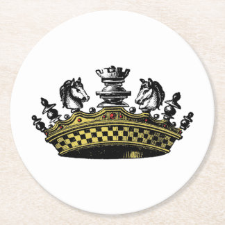 Vintage Crown With Chess Pieces Color Round Paper Coaster