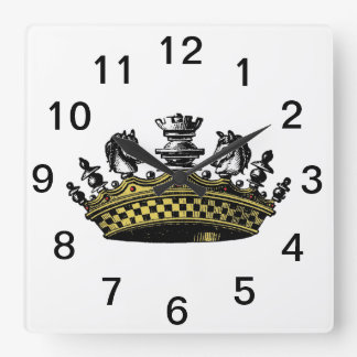 Vintage Crown With Chess Pieces Color Square Wall Clock