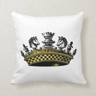 Vintage Crown With Chess Pieces Color Throw Pillow