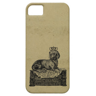 Vintage crowned dachshund dog drawing shabby chic iPhone 5 case