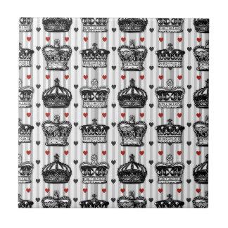 Vintage Crowns Hearts Stripes Pattern Ceramic Tile