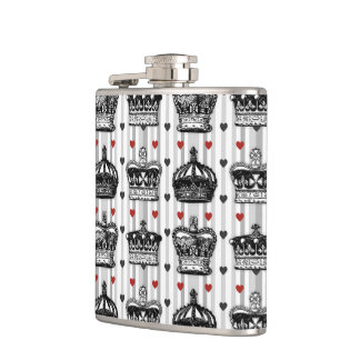Vintage Crowns Hearts Stripes Pattern Hip Flask