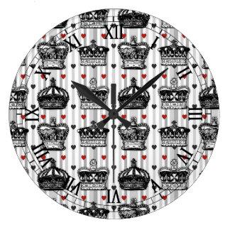 Vintage Crowns Hearts Stripes Pattern Large Clock