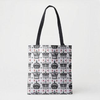 Vintage Crowns Hearts Stripes Pattern Tote Bag