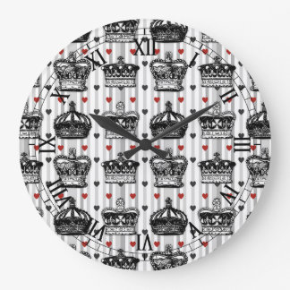 Vintage Crowns Hearts Stripes Pattern Wallclocks