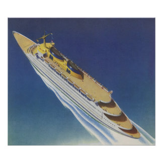 Vintage Cruise Ship in the Ocean Seen from Above Poster