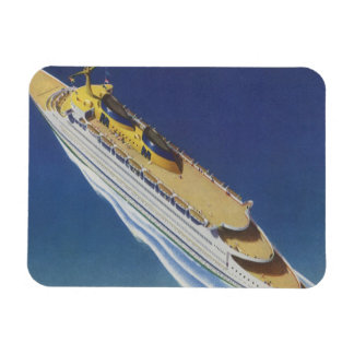 Vintage Cruise Ship in the Ocean Seen from Above Rectangular Photo Magnet