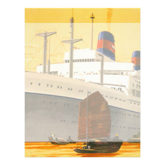 Vintage Cruise Ship to the Orient with Junks Boats Customized Letterhead