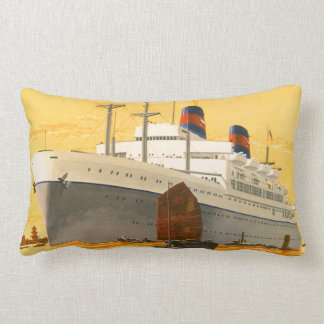 Vintage Cruise Ship to the Orient with Junks Boats Lumbar Pillow
