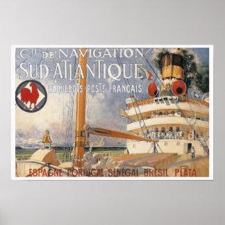 Vintage Cruise Ship Travel Advertisement Poster