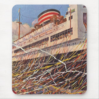 Vintage Cruise Ship Vacation; Bon Voyage Party! Mouse Pad