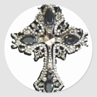 VINTAGE CRYSTAL CROSS PRINT CLASSIC ROUND STICKER
