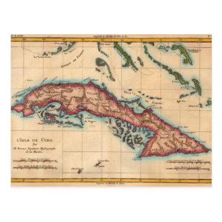 Vintage Cuba Island Map Old Travel Postcard