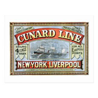 Vintage Cunard Line Sailing New York to Liverpool Postcard