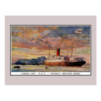 Vintage Cunard RMS Antonia at Quebec Postcard