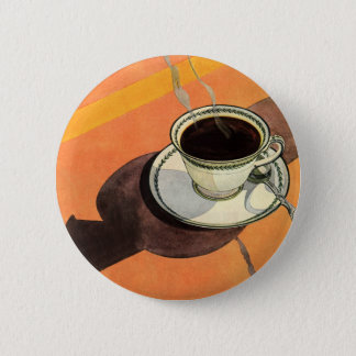 Vintage Cup of Coffee, Saucer, Spoon with Shadow 2 Inch Round Button
