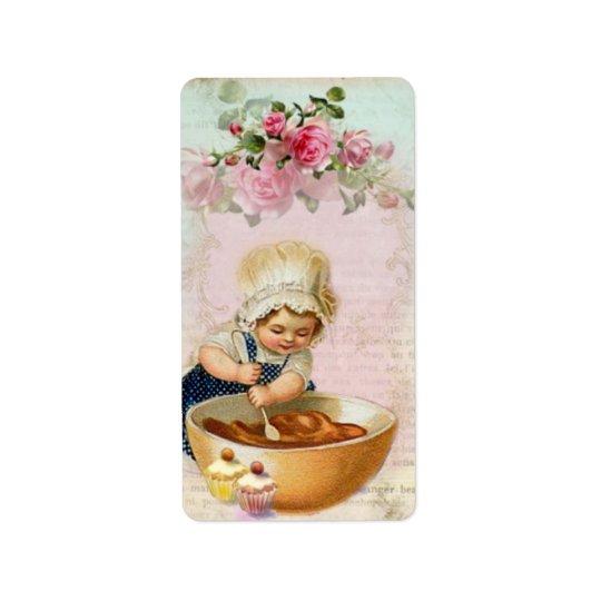 Vintage Cupcake Baker #1 Gift Label