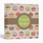 Vintage Cupcake Print Dessert Recipe Vinyl Binders