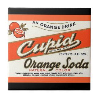 Vintage Cupid Orange Soda Bottle Drink Label Tile