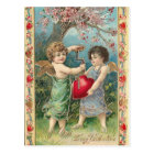 Vintage cupids with heart postcard