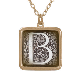 Vintage Curly Letter B Monogram Initial Pendant