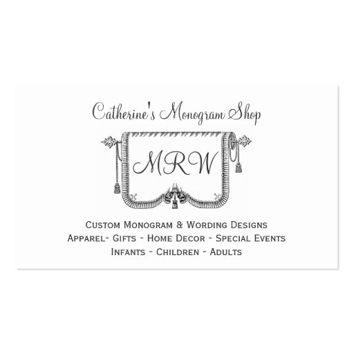 Vintage Curtain Tassle Frame Monogram Design Shop Business Card Templates