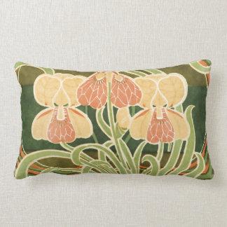 Vintage Curvy Floral Art Nouveau Lumbar Pillow
