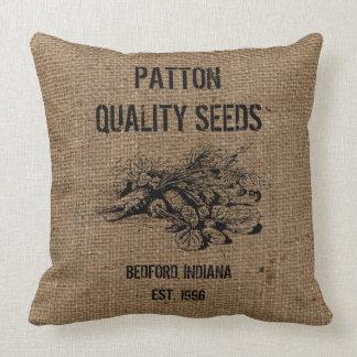 Vintage Custom Burlap Quality Seeds Advertising Throw Pillow