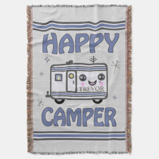 Vintage Custom Happy Kawaii Camper Throw Blanket