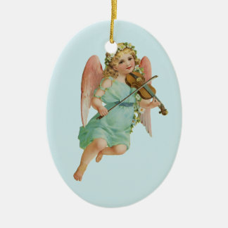Vintage Cute Angel Playing a Violin Double-Sided Oval Ceramic Christmas Ornament