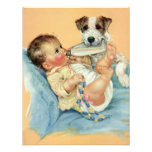 Vintage Cute Baby Bottle Puppy Dog, Baby Shower Announcements