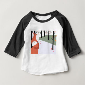 Vintage cute baby fox wolf smile happy in garden baby T-Shirt