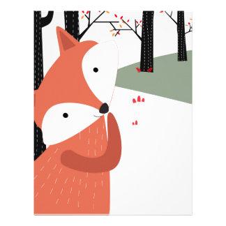 Vintage cute baby fox wolf smile happy in garden letterhead